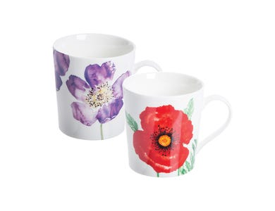 Image for Woodland Poppies Assorted Fine China Mugs