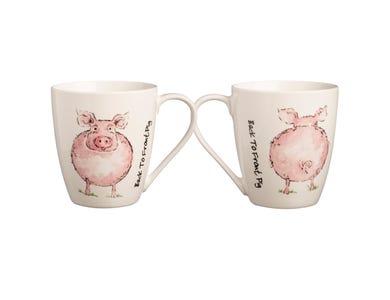 Image for Back To Front Pig Fine China Mug