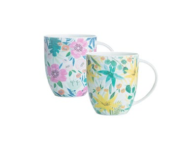 Image for Tropical Floral Assorted Bone China Mugs
