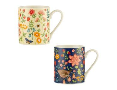 Wild Flower Assorted Fine China Mugs 38cl