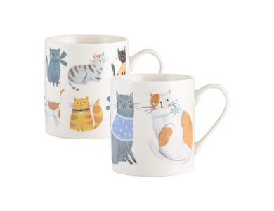 Image for Cosy Cats Assorted Fine China Mugs
