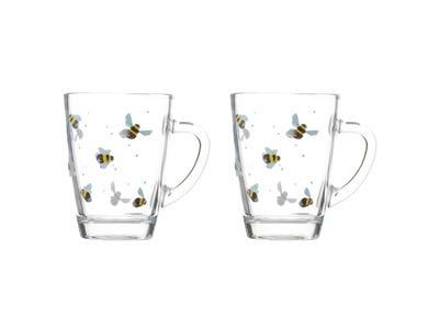 Sweet Bee Set Of 2 Glass Mugs 28cl