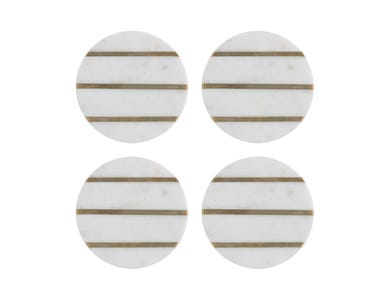 Image for Elements Marble/Brass Set Of 4 Round Coasters