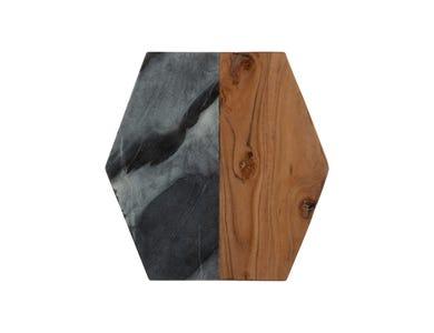Elements Blk Marble/Acacia Hexagon Board