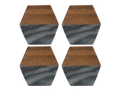 Elements Set Of 4 Marble/ Acacia Coasters