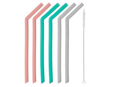 Set 6 Silicone Bent Straws