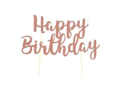 Happy Birthday Rose Gold Topper